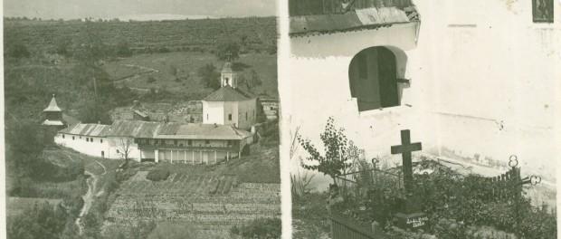 Fotografie de arhivă - mormântul scriitorului Ioan Slavici de la Mănăstirea Brazi.