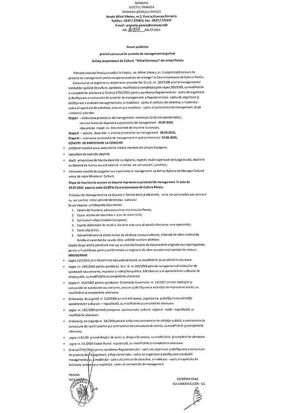 "Concurs de management la Casa de Cultura ""Mihai Eminescu"" - Panciu"